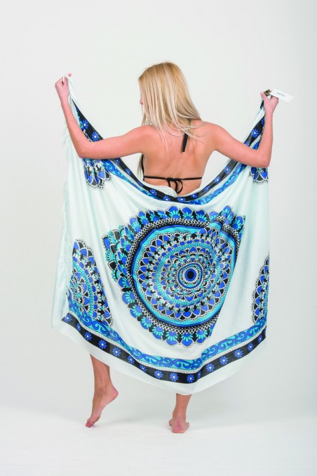 PAREO VISCOSE MANDALA WITH FRINGES