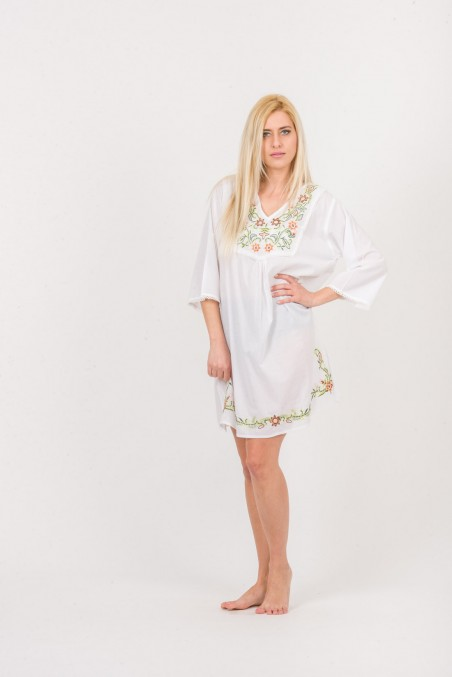 SHIRT DRESS - VISCOSE WITH EMBROIDERY