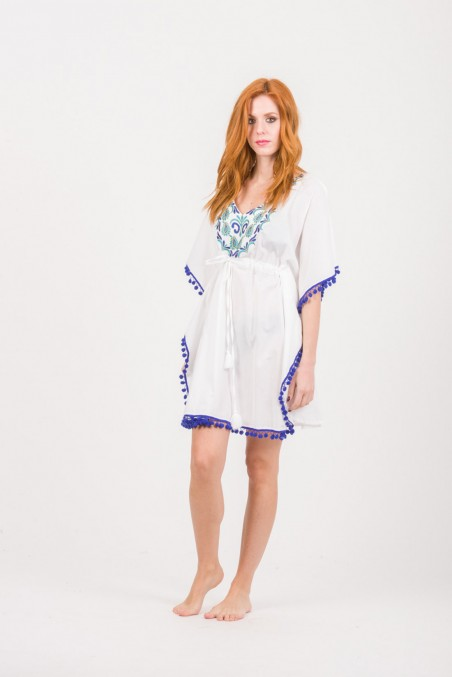 PONCHO COTTON WITH EMBROIDERY