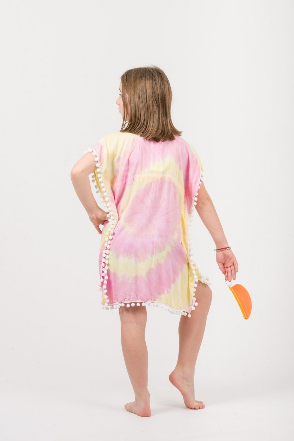 GIRLS PONCHO VISCOSE TIE DYE WITH PON PON