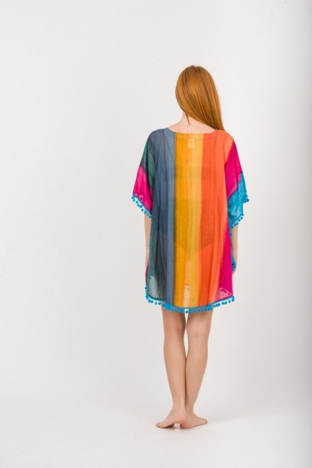 PONCHO COTTON WITH PON PON