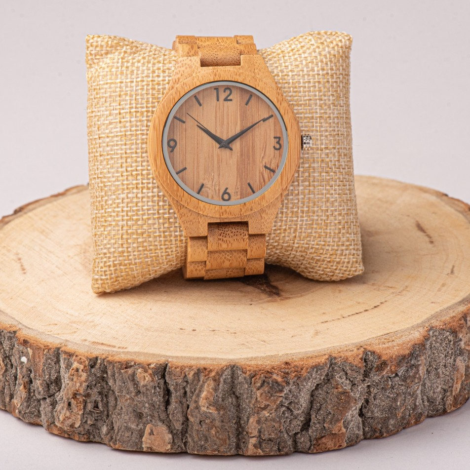 WOODEN WATCH WITH WOODEN BRACELET
