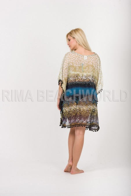 PONCHO CHIFFON SEMI SHEER  WITH PON PON
